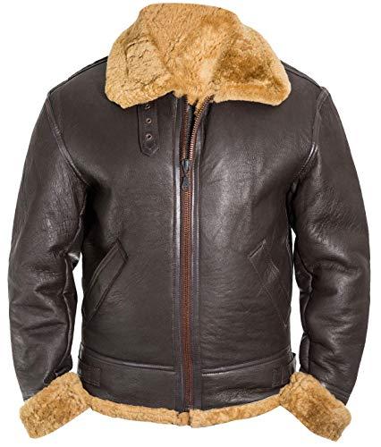 Mens USAAF World War II B3 Aviator Pilot Flight Fur Shearling Brown Bomber Leather Jacket