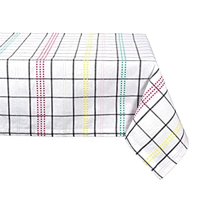 "DII CAMZ38757 Color Pop Plaid Square Tablecloth, 100% Cotton with 1/2"" Hem (52x52"" - Seats 4) - TABLECLOTH SEATS 4 PEOPLE - 100% cotton with 1"" hem, see tablecloth size chart in images to decide on size needed EASY CARE - 100% cotton with 1"" hem. Machine wash in cold water separately, gentle cycle, tumble dry low. Low iron if needed. Cotton may shrink. BRIGHT AND CHEERFUL COLORS - Add a splash of fuchsia, mint, yellow and green to your party table. Colorful Stripes on white background that is sure to capture attention at the table setting. - tablecloths, kitchen-dining-room-table-linens, kitchen-dining-room - 51SGAfVPhKL. SS400  -"