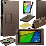 Fulland Magnetic Folio PU Leather Smart Stand Case Cover with Auto Sleep/Wake Function for Google Nexus 7 (2nd Generation 2013 Version) plus bonus Stylus Pen and Screen Protector-Brown