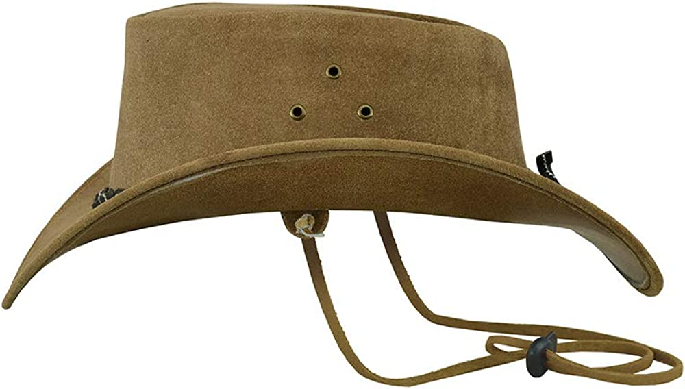 Beige Brown Australian Western Style Cowboy Real Leather Bush Hat with Chin Strap