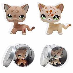 2pcs Littlest Pet Shop RARE tan Short Hair Cat Kitty Green Eyes LPS #852 #1120