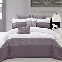 North Home Interlock 100% Cotton Duvet Cover, King, White/Navy, 3 Piece