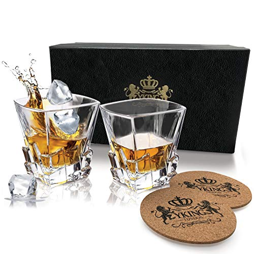 YKing Whiskey Glasses Set of 2 Glasses and 2 Coasters in Premium Gift Box. Lead Free Crystal Glasses by for Whiskey Brandy Tequila Bourbon Scotch Rum Vodka, Liquor or Cocktails -Decanter set 2+1
