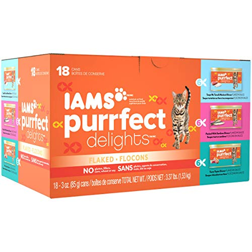 Iams Cat Wet Food, Flaked, Variety Pack - Seafood, 3 Ounce (Pack of 18)