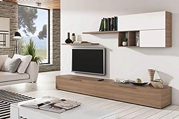 mueble de comedor o saln modular con varios estantes de cm color haya y blanco