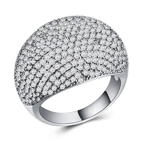 Huitan Statement Ring with Dome Design, Halo CZ Retro Cocktail Party Jewelry Rings for Women (White, 10)