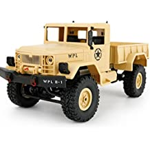 Inverlee WPL B-14 1:16 4WD RC DIY Assemble Military Truck Car Great Gift for Kids (Yellow)
