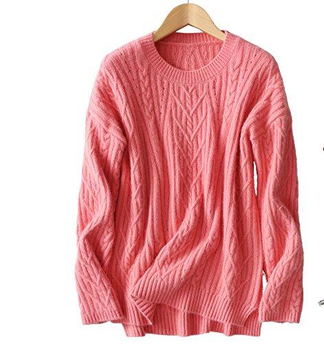 VenuStar Wool Sweater Cashmere Pullover Mock Neck Asymmetrical Hem Cable Knit Top (Asymmetrical Wool Sweater)