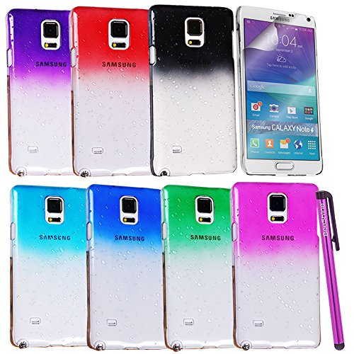 BeeShine® Bundle of 7 Pieces Cases, Galaxy Note 4 Crystal Raindrop Cases - BeeShine® Retail Package Pack of 7 Color Transparent Clear Waterdrop Design Hard Skin Snap on Case Back Cover W/ Two Screen Protector & One BeeShine Touch Stylus For Samsung Galaxy Note 4 Note4 N910 (2014) (Clear Purple, Clear Smoke, Clear Red, Clear Dark Blue, Clear Green, Clear Sky Blue, Clear Hot Pink)