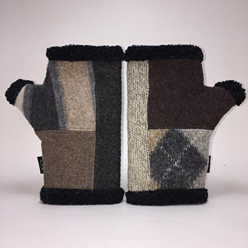 Baabaazuzu Black, Beige & Gray Patterned Women's Upcycled Wool Arctic Fingerless Gloves