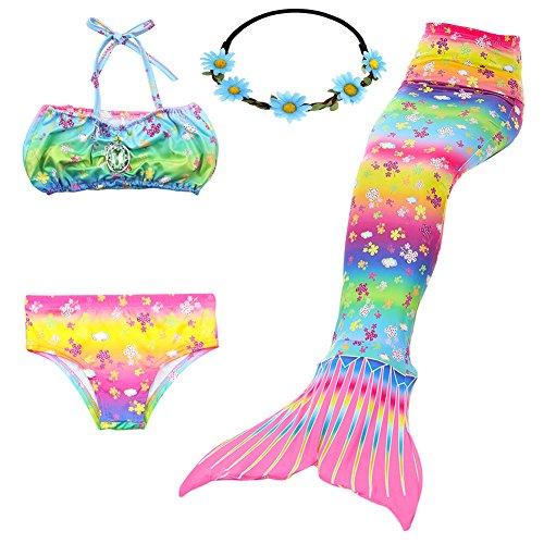 GALLDEALS Girl's Mermaid Tail Swimmable Princess Bikini Set Swimsuit Swimwear, Top, Underwear, Mermaid Tail and Blue Sunflower Headband ()