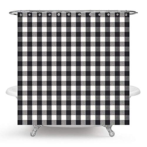 Wencal Buffalo Tartan Check Plaid Shower Curtain for Bathroom with Hooks Mold and Mildew Resistant 72 x 72 Inches ()