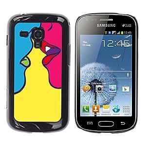 Shell-Star Arte & diseño plástico duro Fundas Cover Cubre Hard Case Cover para Samsung Galaxy S Duos / S7562 ( Kiss Sensual Woman Yellow Pop Art )