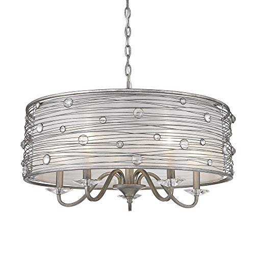 (Golden Lighting 1993-5 PS Chandelier with Sterling Mist Shades, Peruvian Silver Finish )