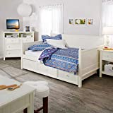 Swag Pads Full Size White Wood Daybed with Pull Out Trundle