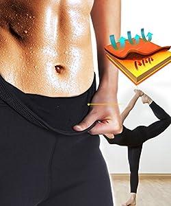 Junlan Women Neoprene Workout Pants Body Shaper Sweat Sauna Suit for Weight Loss Exercise Leggings Hot Slimming Yoga Capris from Junlan