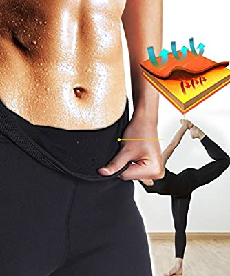Junlan Women Neoprene Workout Pants Body Shaper Sweat Sauna Suit for Weight Loss Exercise Leggings Hot Slimming Yoga Capris