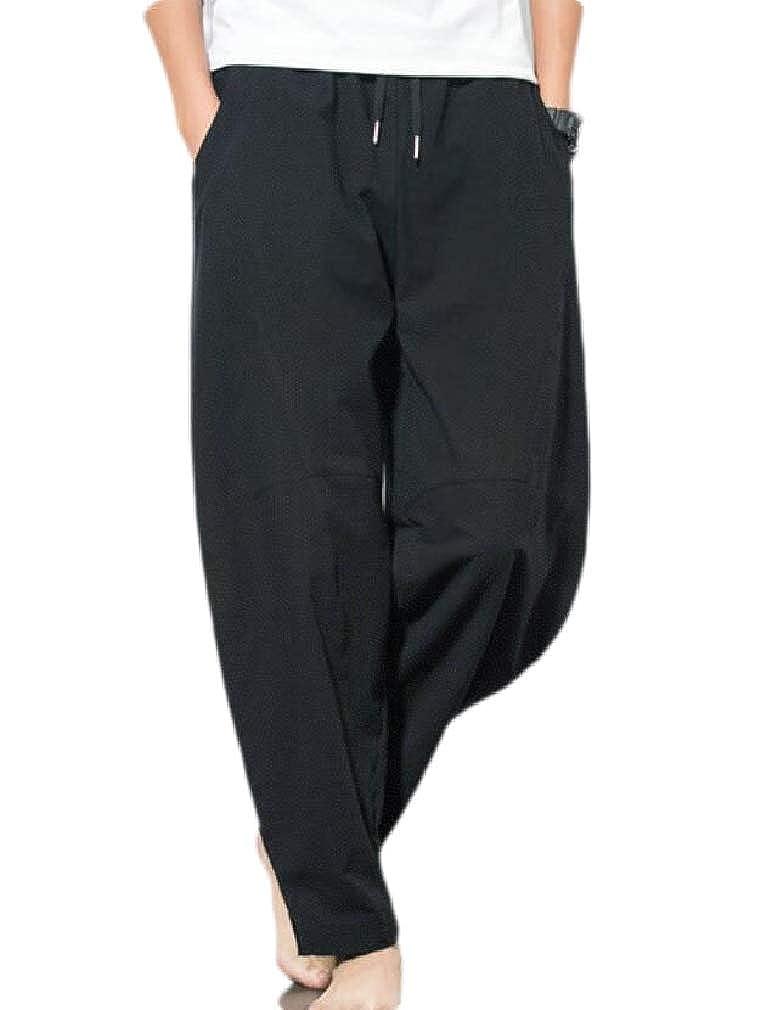 Cromoncent Mens Casual Loose Elastic Waist Drawstring Harem Long Pants