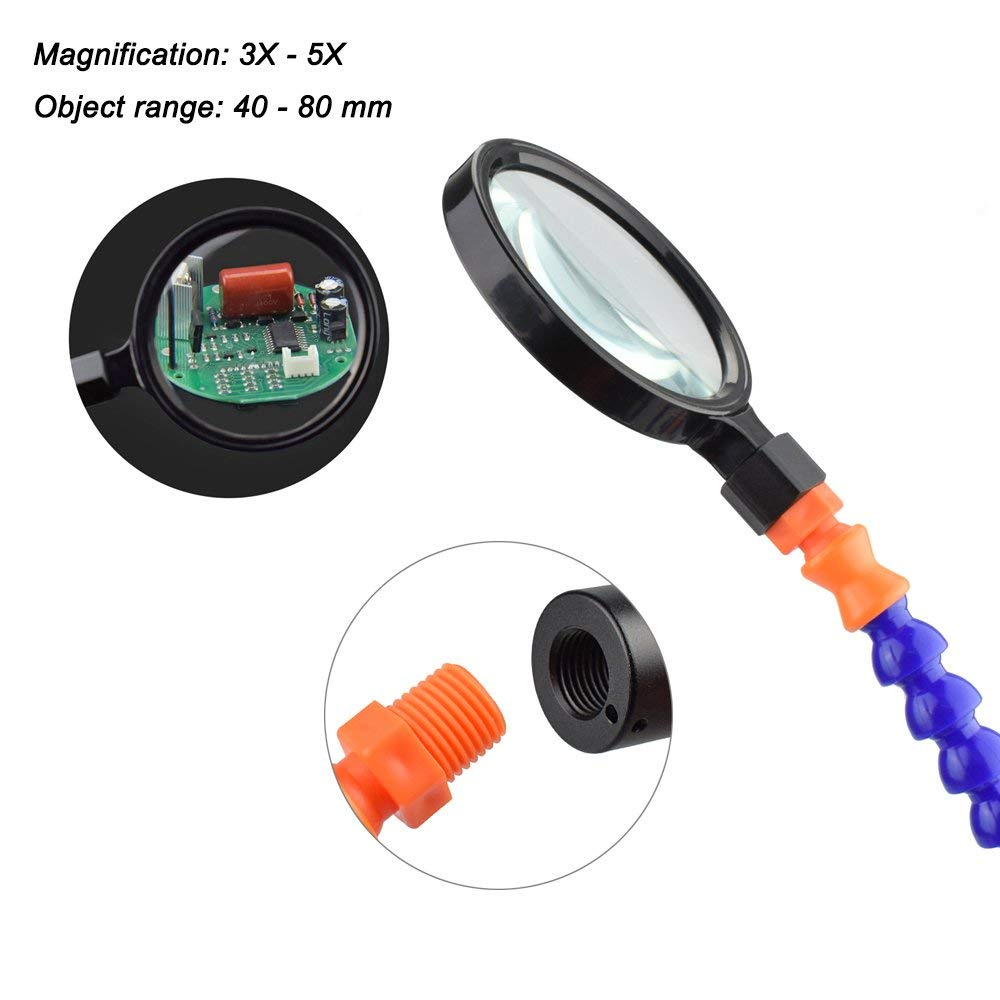 6 Helping Hands with Swiveling Clips Soldering Station with Helping Hands,NEWACALOX Flexible Third Hand with Magnifying Glass Lens and Mini Flashlight,Non-Slip Aluminum Base