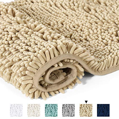 - H.VERSAILTEX Ultra Soft Texture Chenille Plush Bath Rugs Floor Mats, Hand Tufted Bath Rug Non Slip Microfiber Door Mat for Kitchen/Entryway/Living Room, 32 by 20 inches, Beige