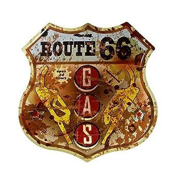 -Septangle Vintage Style Route 66 Gasolinera Bar Inicio Tienda Cafe - signo de estaño metal