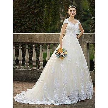 kekafu Una línea de tren Catedral Queen Anne en Tul vestido de novia con apliques de