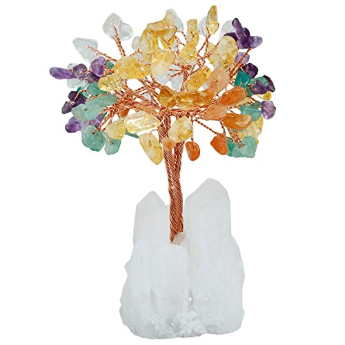 SUNYIK Natural Multicolor Crystal Money Tree,Rock Quartz Cluster Base Bonsai Sculpture Figurine 4 Inch