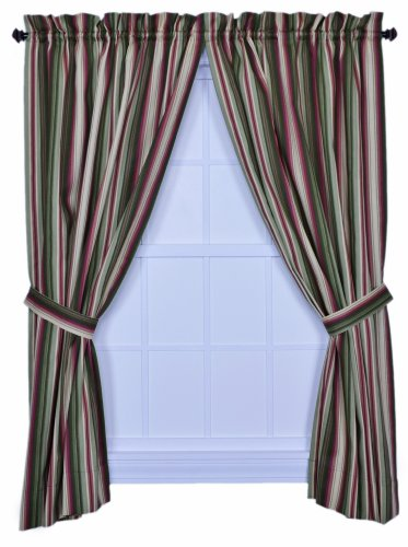 Ellis Curtain Montego Stripe 82-Inch by 63-Inch Tailored Panel Pair Curtains with Tiebacks, Green ()