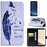 For Samsung Galaxy S8 Case with Card Slot,OYIME [Bird Feather and Saying] 3D Glitter Pattern Design Bookstyle Leather Wallet Holster Kickstand Function Full Body Protective Bumper Magnetic Closure Flip Cover with Wrist Lanyard and Screen Protector