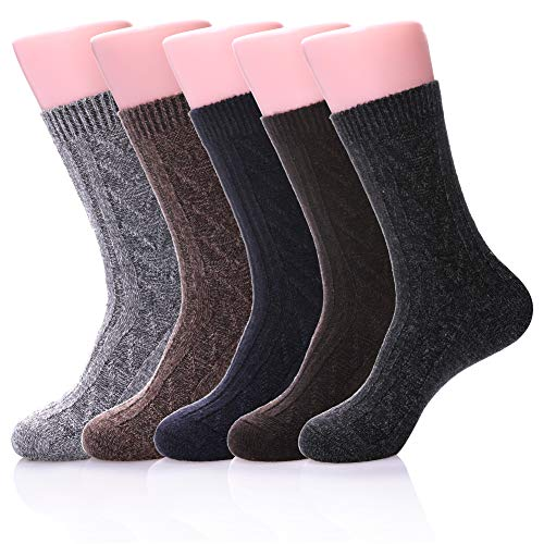 ZaYang Mens 5 Pairs Soft Comfort Warm Thick Wool Cotton Knit Cerw Winter Socks