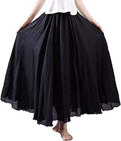 Women Loose Elastic Waist Butterfly Print Skirt Pleated Ruffle Long Skirts Swing