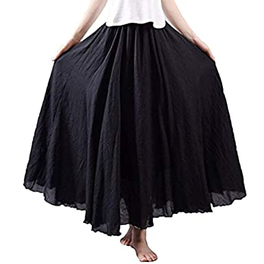 3dd96d5579 Women Long Bohemian Skirt Elastic Cotton Linen Waist Band Hippie Beach Full  Length Pleated Maxi Skirts