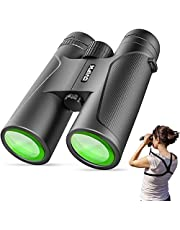 12X42 Binoculars for Adults and Kids with Harness Strap-OVIFM Small Night Vision Binoculars for Bird Watching,Powerful Compact Waterproof Binoculars for Hunting,Travel,Sightseeing,Sports and Concerts