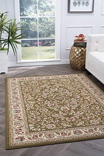 Tayse Lizbeth Green 8×10 Rectangle Area Rug for Living, Bedroom, or Dining Room – Traditional, Oriental