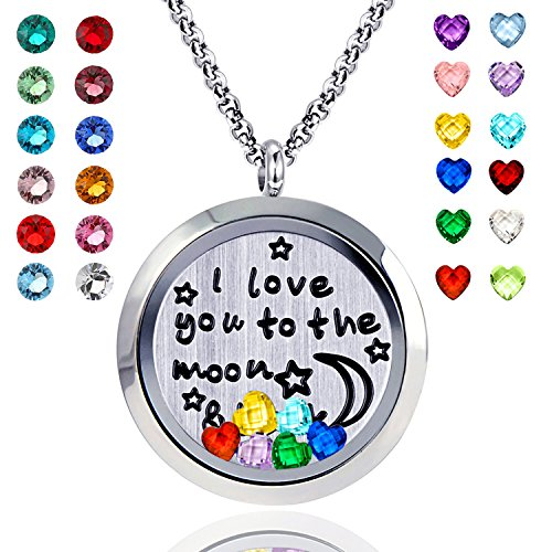 Floating+Living+Memory+Locket+Pendant+Necklace+Family+Tree+of+Life+Necklace+All+Birthstone+Charms+Include+%28Moon+Back+24+Birthstones+Locket%29