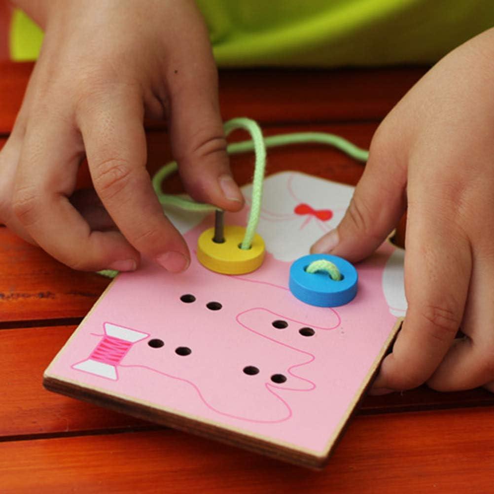 Uyuke Giocattoli Fatti a Mano in Legno per Bambini Indossano Bottoni da Cucito Gioco Coordinazione Occhio Mano Giocattoli educativi Montessori