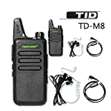 TIDRADIO TD-M8 Mini Walkie Talkie RFS Two Way Radio Compatible with Baofeng (2 PCS) With 1 Program Cable and 2 PCS TIDradio 2-Pin Covert Air Acoustic Earpiece Headset