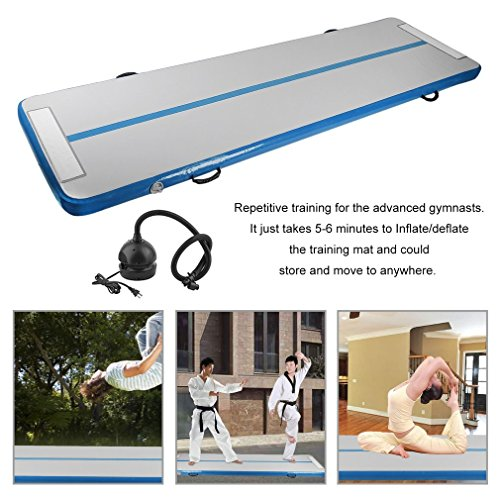 Blackpoolfa Inflatable Gymnastics Tumbling Mat Air Floor for Home Use, Beach, Park and Water by 90CMX3M Air Tumbling Track with Air Pump,(Blue,PVC)