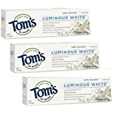 Tom's of Maine Luminous White Whitening Natural Toothpaste, Clean Mint, 4.7 Ounce, 3 Count