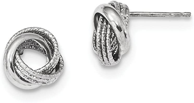 14K White Gold Polished Textured Love Knot Post Earrings Hollow 10.5 mm Love Knots Earrings Jewelry