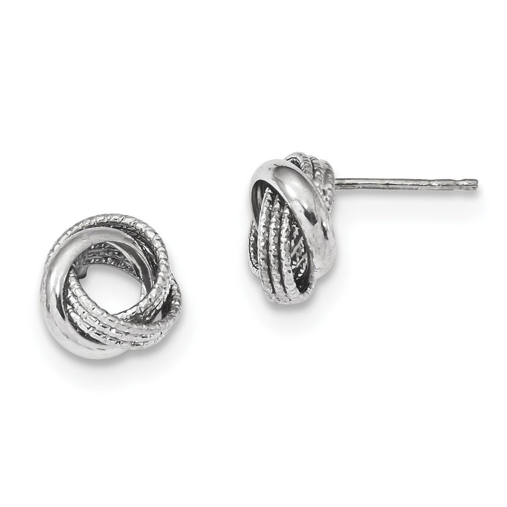 14kt White Gold Textured Polished Love Knot Post Earrings