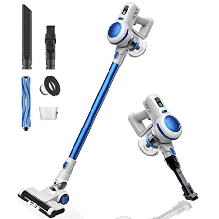 Orfeld Cordless Vacuum Cleaner, 2 in 1 Stick Vacuum with Digital Motor, 17 kPa Powerful Suction LED Brush for Home and Car Cleaning – Pearl White