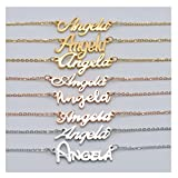 HUAN XUN Personalized Customized Name Initial Necklace Monogrammed Words Girl's Jewelry