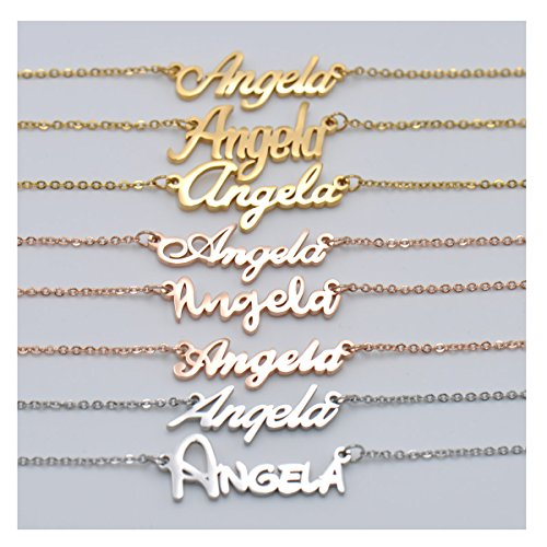 HUAN XUN Personalized Customized Name Initial Necklace Monogrammed Words Girls Jewelry