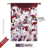 Breeze Decor H114122 Christmas Piggies Winter Seasonal Decorative Vertical House Flag, 28″ x 40″, Multicolor Review