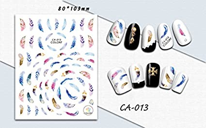Veena 1Pcs Colorful Sticker Nail Art 3D Letter Feather Designs Self Adhesive Decals Nail Sticker Nail