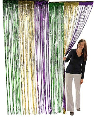 2Pack Mardi Gras Foil Fringe Curtains DIY Party Photo Background Backdrop Door Wall Decorations ()
