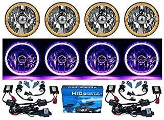 5-3//4 Motorcycle Purple COB SMD LED Halo Halogen H4 Light Bulb Headlight Headlam