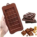24 Grid Square Chocolate Mold Food Grade Non Stick Premium Silicone Break Apart Chocolate, Candy, Ice Cube, Baking and Energy Bar Molds Also for Soap Bars Mold Candybar Form