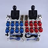 Easyget Classic Arcade Game DIY Parts for Mame USB Cabinet 2x Zero Delay USB Encoder + 2x 8 Way Classic Arcade Joystick + 18x Happ Style Push Button Blue + Red Color Kits